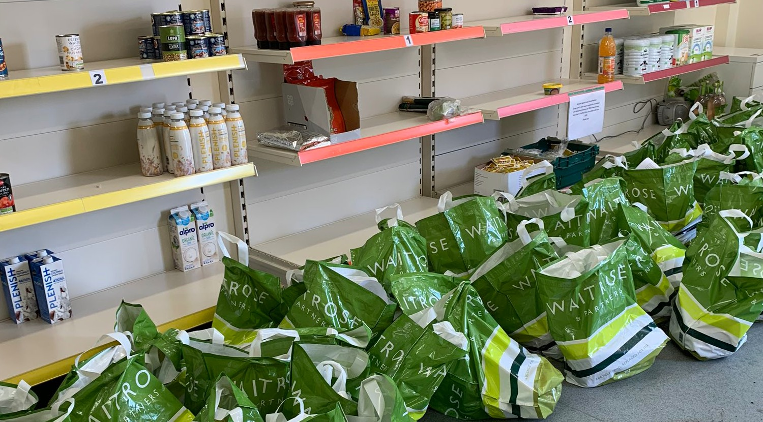 bags for food infront of shelves