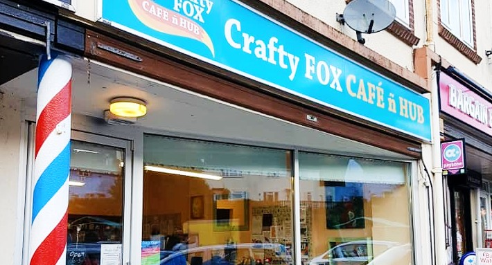 the outside of the crafty fox cafe in Paignton