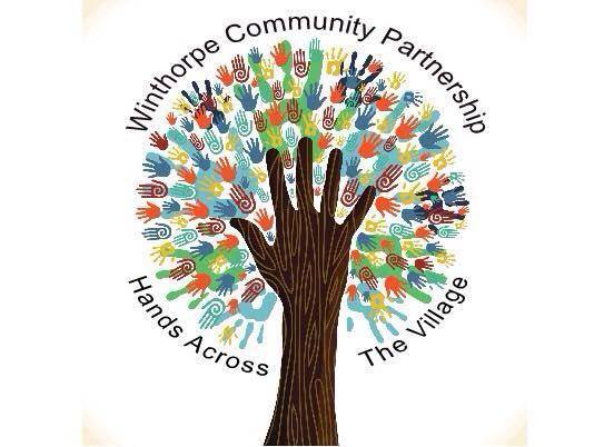 a drawing of an arm and a change making the trunk and branch of a tree with prints of hands making leaves as the Winthrope Community Parntership logo